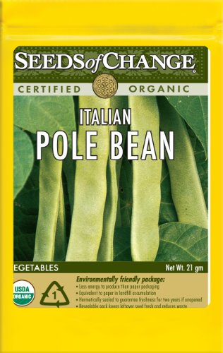 Seeds of Change S10956 Certified Organic Italian Snap Pole Bean, 49 Seed Count