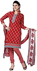 K.K BROTHERS Women's Cotton Dress Material (Red)