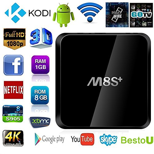 Tv Box M8S+ XingYa-Tech android tv box support 4k function with Newest CPU Amlogic S905 Quad Core 1GB/8GB All Apps fully Loaded
