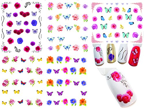 Bright Water Transfer Tattoo Stickers /LD1/- Flowers & Butterflies Assorted Designs, pack of 5