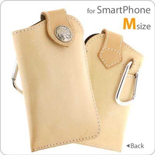 Handmade Leather Cell Phone Pouch for Smartphone with Indian Concho (Tan/M Size)