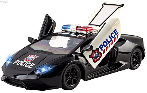 WolVol Fast Forward 5 Channel Remote Control Police Car Toy for Kids with Front Lights - Remote Controlled Opening Doors (Police Car Doors Open compare prices)