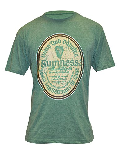 Guinness Green Distressed Gaelic Label T-Shirt (Guinness Beer Tshirt compare prices)