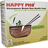 HAPPY PHO - Garlic Goodness, GLUTEN FREE Vietnamese Brown Rice Pho Noodle Soup, 4.5 oz, 2-SERVINGS Per Box (Pack of 6)
