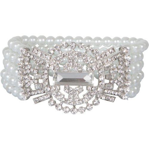 pearl Heirloom Finds Art Deco Style Crystal and Faux Pearl Jazz Age Bracelet