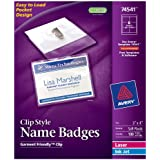 Avery Top Loading Clip Style Name Badges, Soft Plastic, 3 x 4 Inches, White, 100 Holders and 100 Ink Jet/Laser Inserts (74541)
