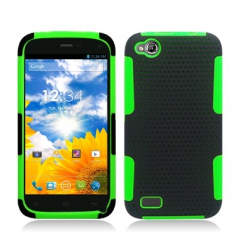 Cell Accessories For Less (Tm) Black / Green Hybrid Mesh Hard/Soft Case Cover For Blu Life Play L100 - By Thetargetbuys front-921104