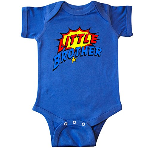 Inktastic Baby Boys' Little Brother Superhero Infant Creeper Newborn Royal Blue