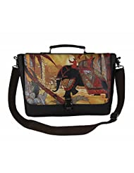 The House Of Tara Faux Leather Women's Laptop Bag With Printed Flap (Dark Brown, HTMB 034)