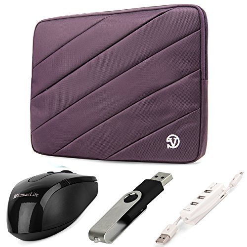 Vangoddy Jam Series Bubble Padded Striped Sleeve For Acer Aspire 15.6-Inch Ultrabooks / Notebooks / Laptops (Purple) + Black Wireless Usb Mouse + Black 4Gb Thumbdrive + Universal 3 Port Usb Hub And Micro Usb Cable