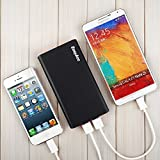 EasyAcc Classic 10000mAh Power Bank Brilliant External Battery Pack for iPhone Samsung HTC LG Smartphones Tablets - Black and Silver