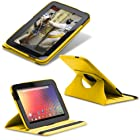Fosmon GYRE Series 360 Degree Rotating Leather Case with Multi Angle Stand + Sleep / Wake Function for Google Nexus 10 Tablet (Yellow)