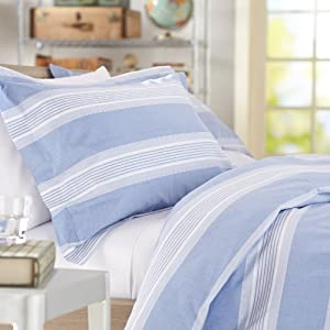 Pinzon Chambray Stripe Duvet Set - Full/Queen, French Blue