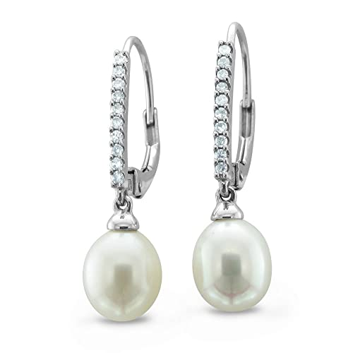 14K White Gold Natural Diamond and Pearl Drop Earrings