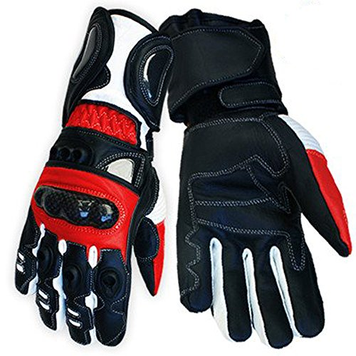 Red Vector Race Kevlar Leather Vented Motorcycle Gloves rp £62 (XXL)