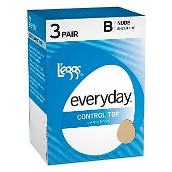 L'eggs Women's Everyday Control Top Panty Hose, Jet Black, Q