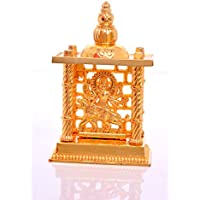 Hashcart Maa Durga Mandir- Brass Gold Plated Especially For Diwali Puja And Gift Purpose (4.5 Inch)