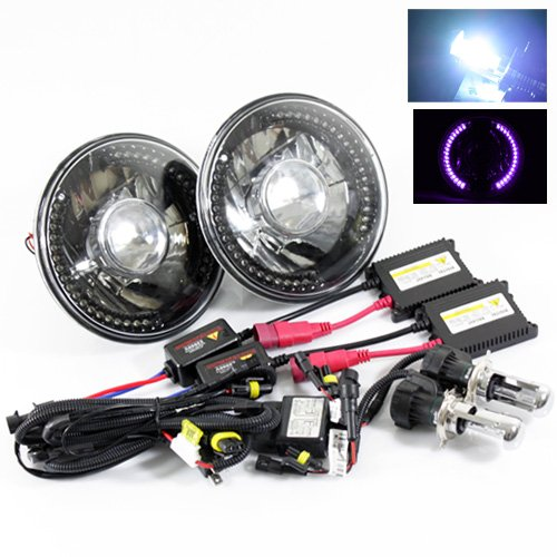 """8000K Blueish White Bi-Xenon Slim Hid/7"""" Round 6014/6015/6024 Black Crystal Projector Headlights With Purple Led Ring"""