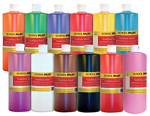 School Smart 1439187 Non-Toxic Multi-Purpose Liquid Tempera Paint Set, 1-Quart Plastic Bottle, Assorted Vibrant Color (Pack of 12)