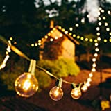 GMY Lighting Imports® 25 Patio Lights G40 Light Strip 120V 5W Christmas,Garden, Holiday, Party Indoor or Outdoor Decor (Black Wire)