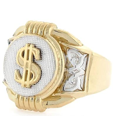 14ct Two Colour Gold Dollar Sign Round Fancy Mens Ring
