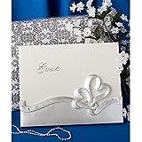 """Fashioncraft Interlocking Hearts Design Wedding Guest Book, 9.875"""" X 7.875"""" X 1 1/2"""""""", White"""