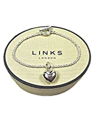 New LINKS OF LONDON Sterling Silver Puffed Heart Sweetie Charm on 18cm T Bar Bracelet 5030.0151