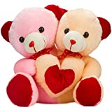 Gitz Made For Each Other Teddy Bear, Pink And Off-White