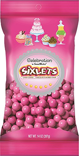 Baby Shower Candy - Chocolate Sixlets - Hot Pink - 14 ounces - 1