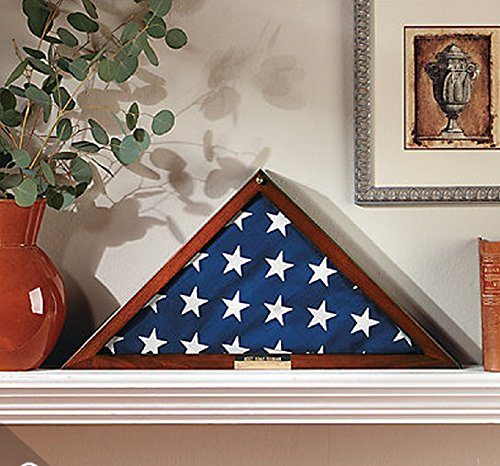 5'X9.5' Military Flag Display Case Memorial with Personalized Brass Plaque and Frame Mat (Flag Display Case Army compare prices)