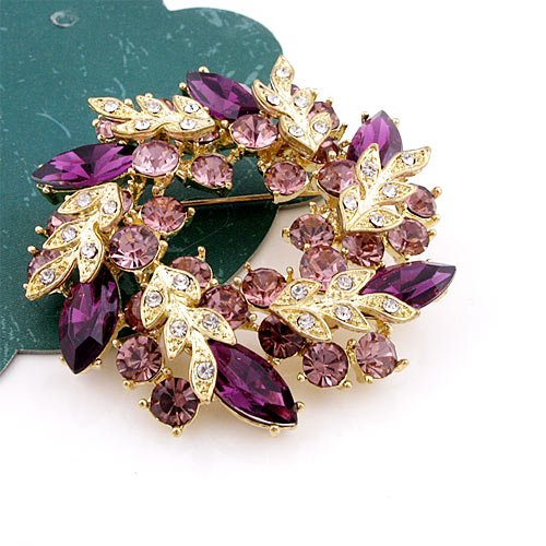 Moon Harvest Austrian Swarovski Crystal Lady Pin Brooch -Gorgeous Leaves Swarovski Design and The Highest Quality Austrian Swarovski Purple Crystal 5.0 cm W x 5.0 cm H Comes With Free Swarovski Jewelry Box ,High-End,Attractive and Elegant Swarovski Crystal,Unique and Collectable , Super Saving w/100% Satisfaction Guaranteed. A Great Gift For Your Friends or Loved Ones.