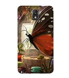 PrintVisa Girl Butterfly Design 3D Hard Polycarbonate Designer Back Case Cover for Samsung Galaxy Note 3
