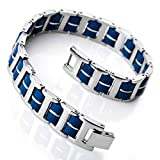 Mens Stainless Steel Rubber Bracelet Link Wrist Silver Blue I Rectangular Polished (with Gift Bag)