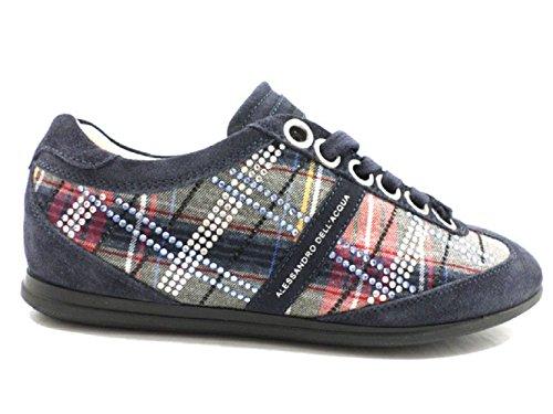 ALESSANDRO DELL'ACQUA sneakers grigio camoscio tessuto (40 EU, blu)