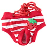 Urparcel Female Pet Dog Puppy Sanitary Cute Short Striped Panty Pant Diaper Underwear Red XL