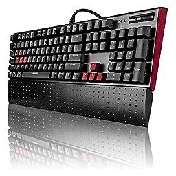 GEEZER Blacklit Mechanical Gaming Keyboard with Blue Switches - 104 Keys Keyboard Wired & USB - White LED Backlight & Full Anti-ghosting Keys