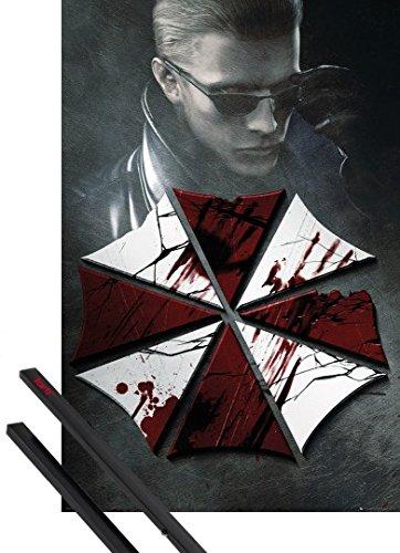 Poster + Sospensione : Resident Evil Poster Stampa (91x61 cm) Key Art E Coppia Di Barre Porta Poster Nere 1art1®