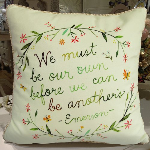 Fablegent® Lc1175 - Elegant Cushion Throw Pillow Cover - Creative Characters Words Design On Both Sides - Soft Velvet front-579590