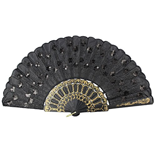 Newstarfactory Peacock Feather Black Sequins Design Plastic Folding Hand Fan With Special Gift