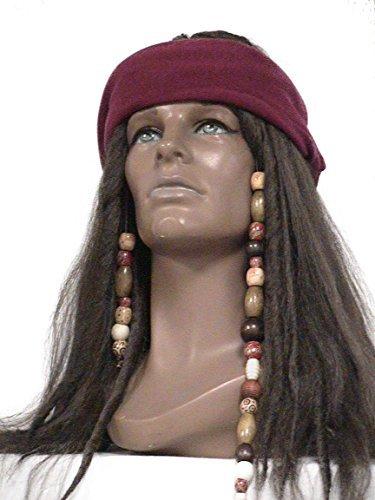 Deluxe Dark Brown Pirate Wig Jack Sparrow Captain Hook Buccaneer Costume Wig (Dark Brown) by Wig (Deluxe Brown Dreadlock Wig)