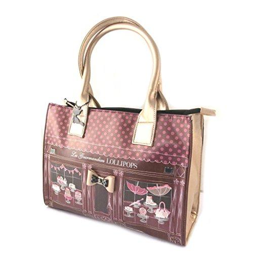Bag designer 'Lollipops'bordeaux rose - 32x24x13 cm.
