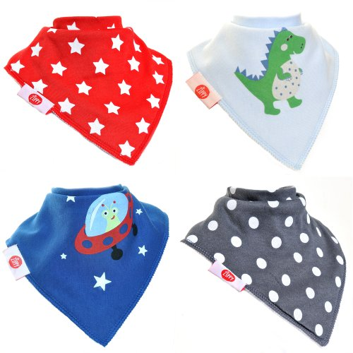Zippy Fun Baby and Toddler Bandana Bib - Absorbent 100% Cotton Front Drool Bibs with Adjustable Snaps (4 Pack Gift Set) Boys Cool Style - 1