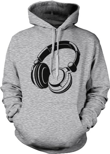 Oversized Headphones Mens Sweatshirt, Funky Trendy Fresh Black Head Phones Design Pullover Hoodie, X-Large, Lt-Gray
