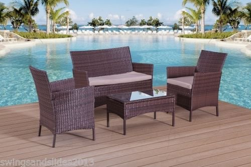 New Garden Furniture Set Wave Pvc Rattan Table Bench