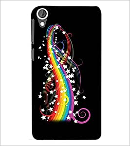 PrintDhaba Rainbow colours and Stars D-2240 Back Case Cover for HTC DESIRE 820 (Multi-Coloured)