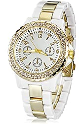 Soleasy Women's Diamante Gold Dial Plastic Band Quartz Analog Wrist Watch (Gold) WTH0827