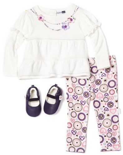 Vitamins Baby Girls Infant Pointelle Necklace Top 3 Piece Pant Set with Shoe