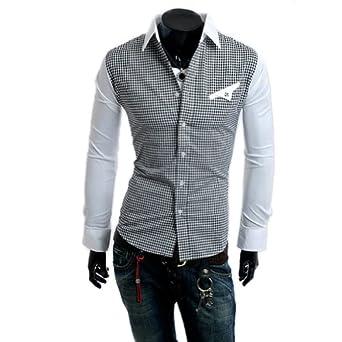 Zehui Mens Plaid Check Dress Long Sleeves Shirts Fit T-shirts White Tag XXL