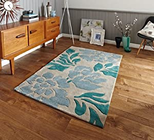 Phoenix Elegant High Quality Light Blue & Beige Flower Design Rug 33 - 3 Sizes Available from The Rug House