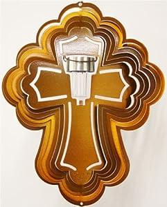 Stainless Steel Solar Light Cross - 16 Inch Wind Spinner, Copper